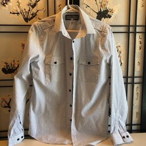 EXPRESS fitted black and white Button Down Shirt